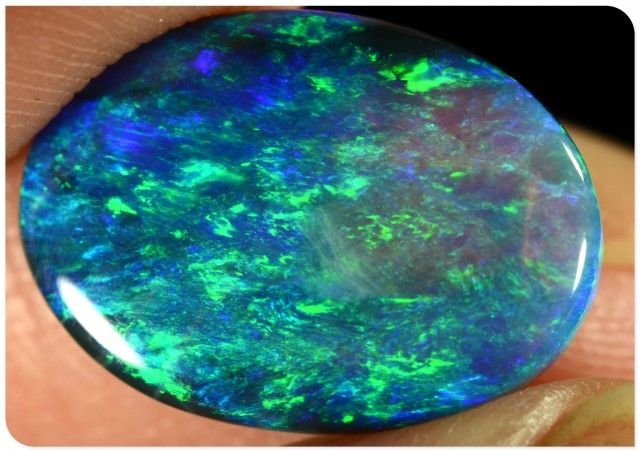 3.0ct Black Opal - ID:10262 Emerald green and gold, gem top quality