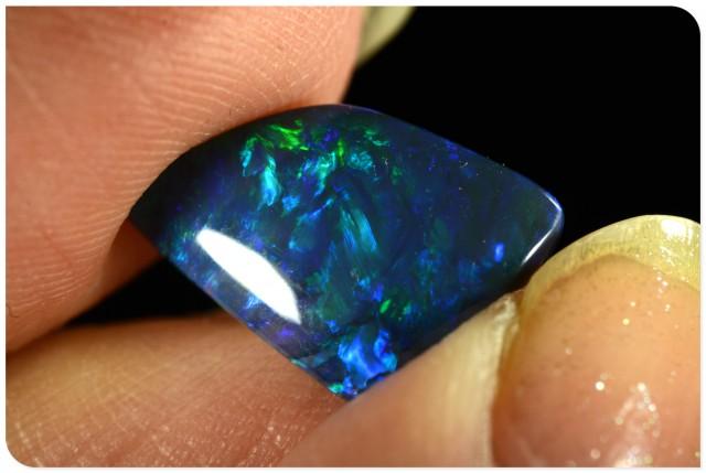 2.4ct Black Opal - ID:20298 Freeform rare gem with electric