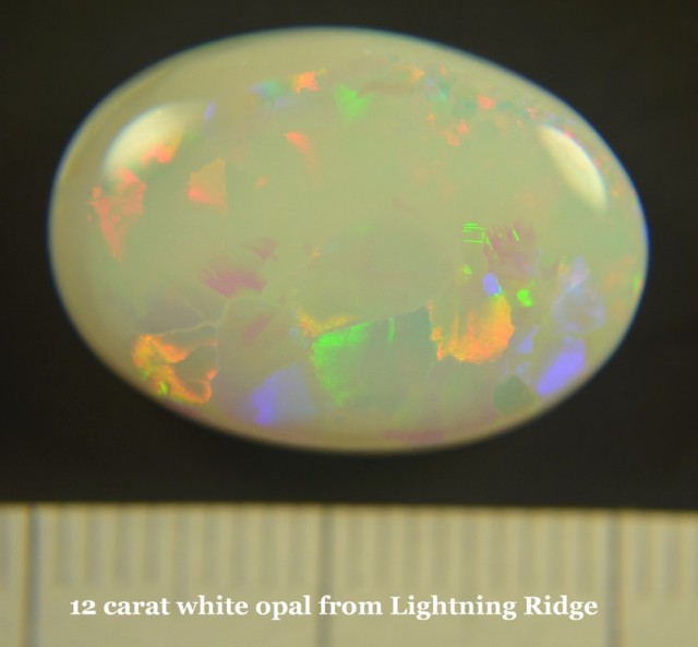 Beautiful , solid , natural 12 carat white opal from Australia-Lightning Ri