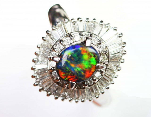 Gem Black Opal, Platinum Engagement Ring SCO 806