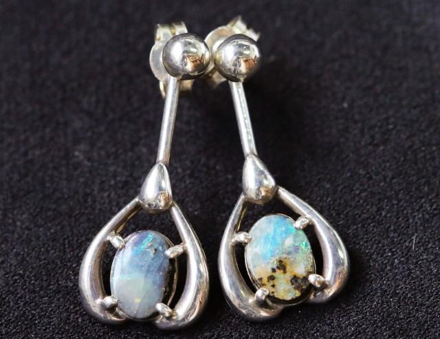 Natural solid  Boulder opal earrings set in silver BU 1154