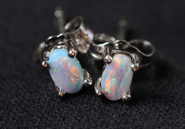 Natural solid  Boulder opal earrings set in silver BU 1156
