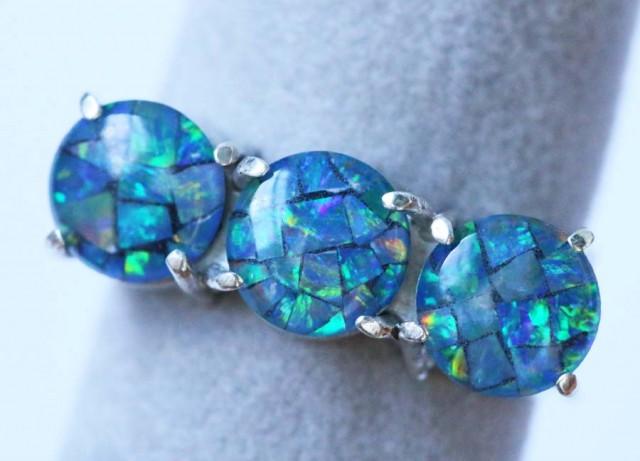 Aussie  Cluster Opal Mosaic Triplet  in silver Ring size6  BU1257