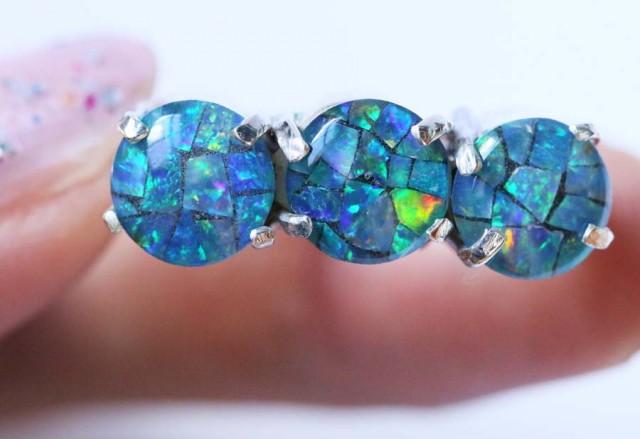 Aussie  Cluster Opal Mosaic Triplet  in silver Ring size6  BU1258