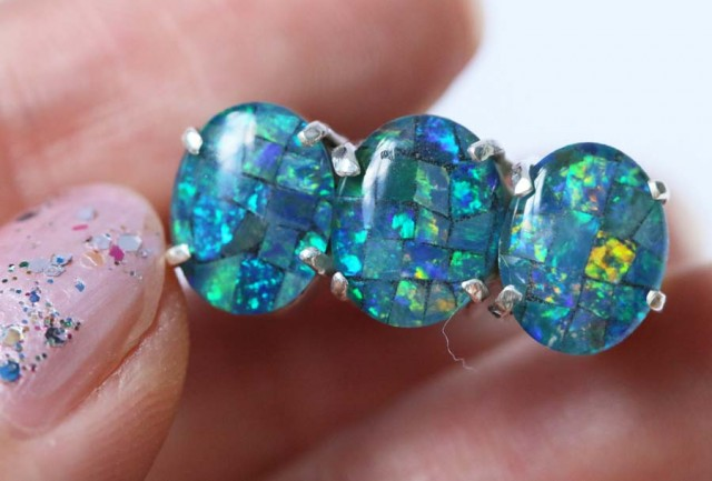 Aussie  Cluster Opal Mosaic Triplet  in silver Ring size 7  BU1259