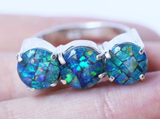 Aussie  Cluster Opal Mosaic Triplet  in silver Ring size 6  BU1260