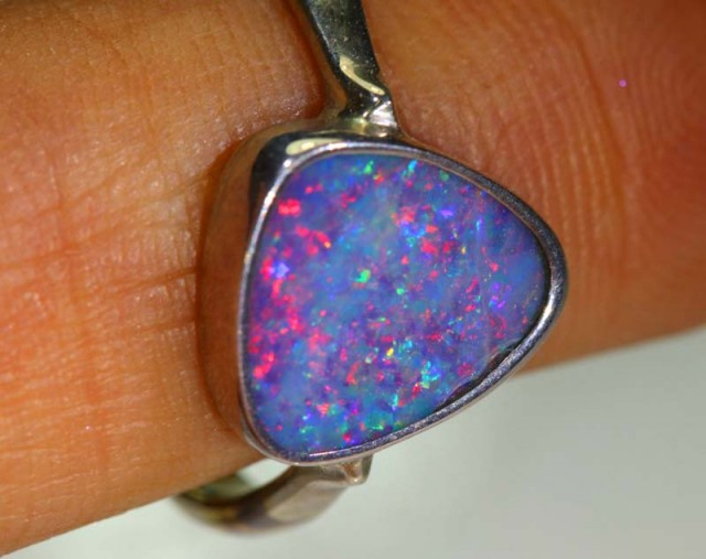 13.6 CTS DOUBLET OPAL SILVER RING OF-1223