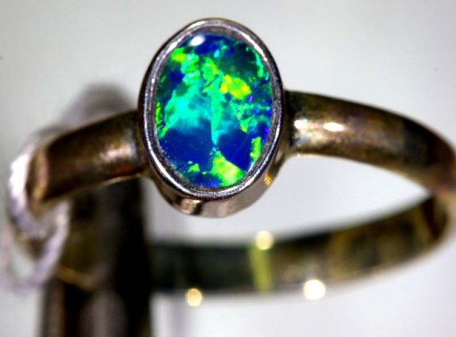 9.05 CTS DOUBLET OPAL SILVER RING OF-1229