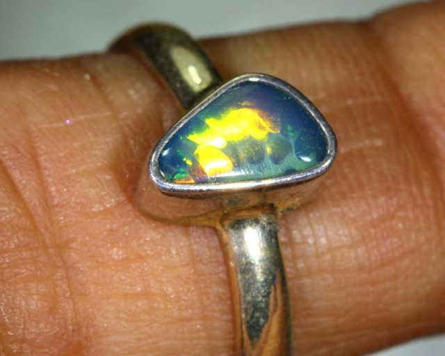 10.4 CTS DOUBLET OPAL SILVER RING OF-1230
