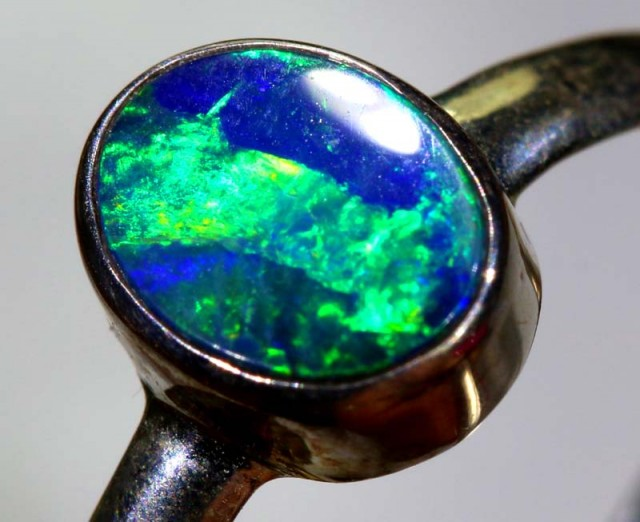 8.65CTS DOUBLET OPAL SILVER RING OF-1238