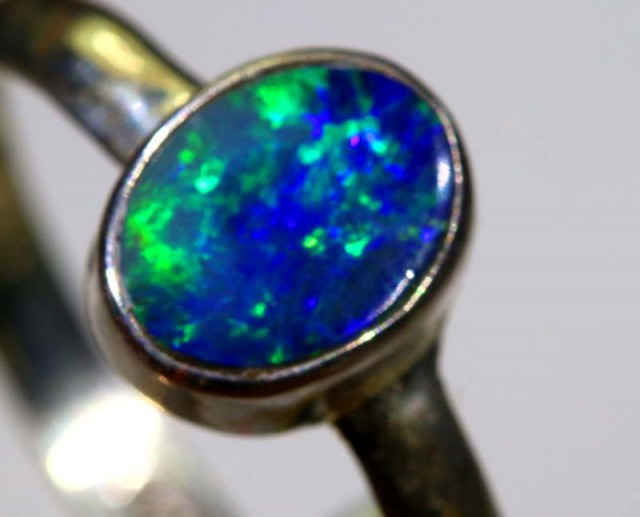 8.7CTS DOUBLET OPAL SILVER RING OF-1240
