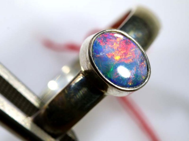 16.70 CTS DOUBLET OPAL SILVER RING OF-1247