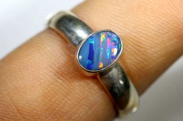15.80 CTS DOUBLET OPAL SILVER RING OF-1249