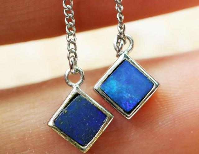 Gem Doublet  Opal set in  silver Earrings BU1323