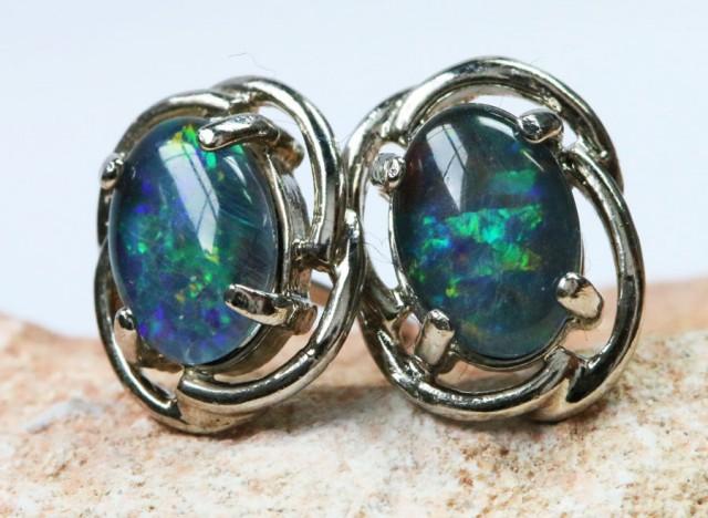 Triplet  Opal set in  silver Earrings BU1330