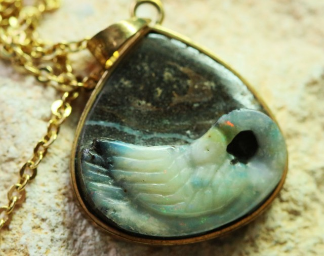Craved Swan Boulder Opal set in  silver Pendant BU 1344