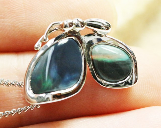 Solid Opal set in  silver Pendant 192188-10