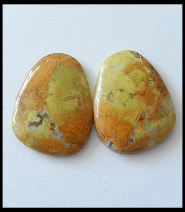 50.75ct Natural Yellow Opal Cabochon Pair