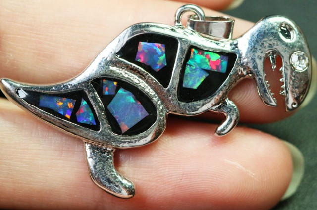 5 Pieces Cute Dinosaur Opal pendants Bu1483