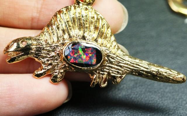 6 Pieces Cute Dinosaur Opal pendants BU1473