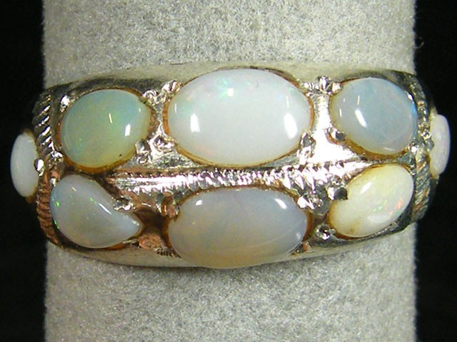 TRIBAL MULTI OPAL TIBETAN SILVER RING SIZE 10.5 TR586
