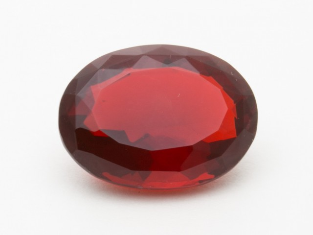 7ct Faceted Red Oval Mexican Fire Opal (MO206)