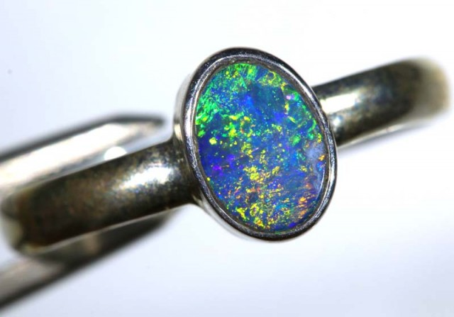 9.40 CTS DOUBLET OPAL SILVER RING OF-1252