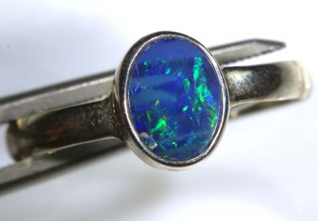 9.40 CTS DOUBLET OPAL SILVER RING OF-1254