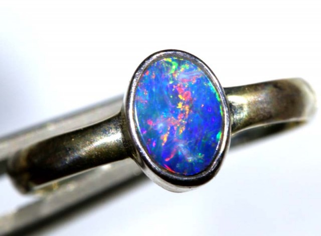 9 CTS DOUBLET OPAL SILVER RING OF-1256