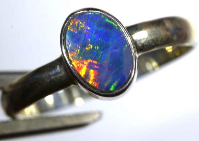 8.50 CTS DOUBLET OPAL SILVER RING OF-1260