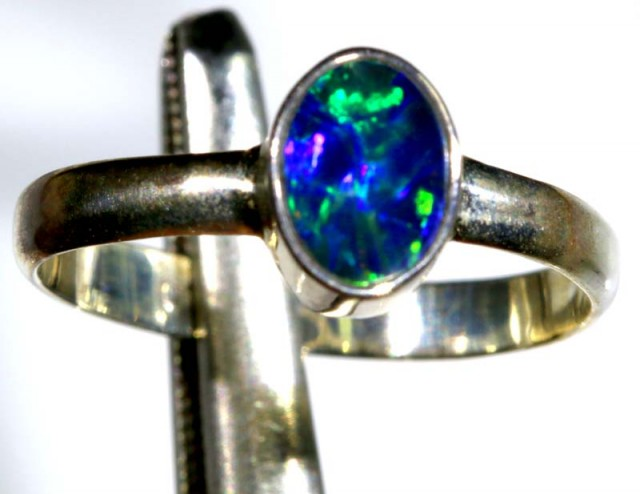 8.90 CTS DOUBLET OPAL SILVER RING OF-1263