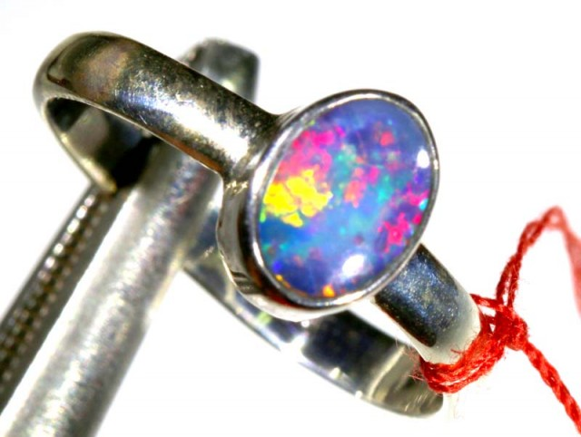 8.70 CTS DOUBLET OPAL SILVER RING OF-1264