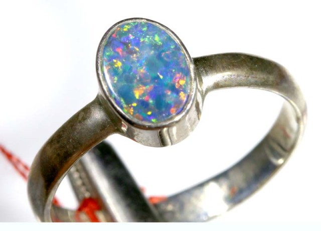 8.55 CTS DOUBLET OPAL SILVER RING OF-1267