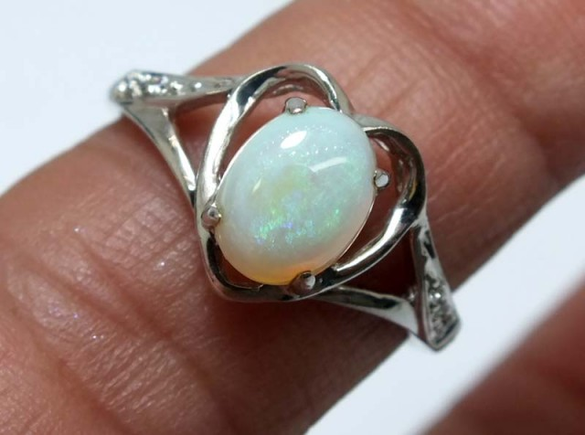 10.60 CTS WHITE OPAL SILVER RING OF-1281