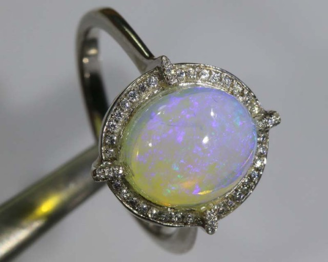 17.90 CTS WHITE OPAL SILVER RING OF-1292