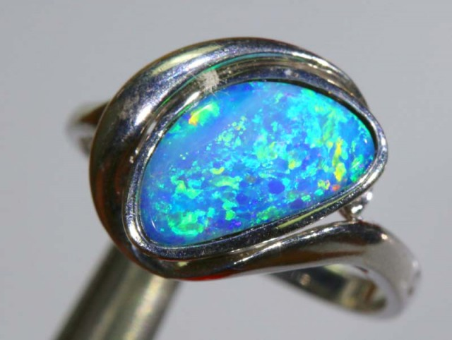 15.35 CTS DOUBLET OPAL SILVER RING OF-1298