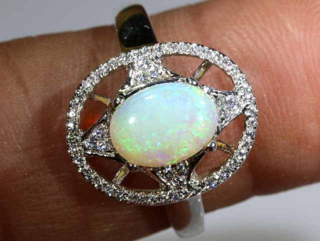 12.25 CTS WHITE OPAL SILVER RING OF-1299