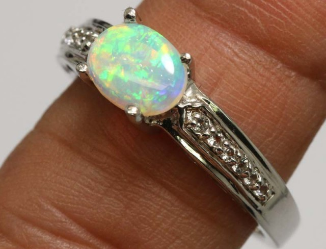 16.60 CTS WHITE OPAL SILVER RING OF-1306
