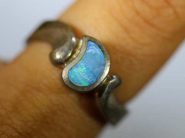 27.25 CTS DOUBLET OPAL SILVER RING OF-1311