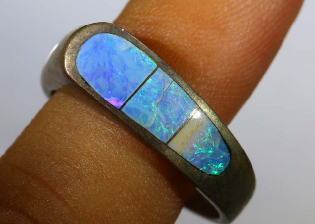 24.35 CTS DOUBLET OPAL SILVER RING OF-1320