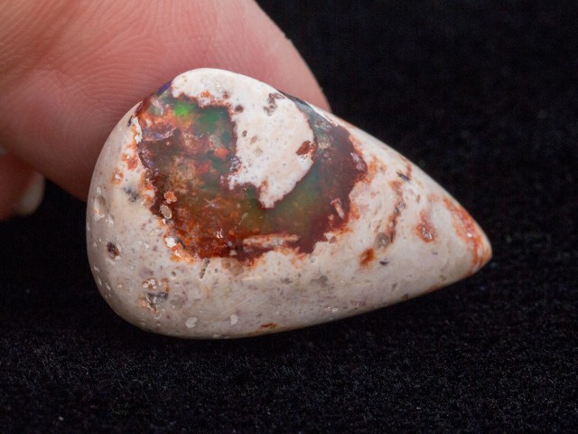 15.7ct Mexican Fire Opal Matrix Cabochon Pear (MO418)