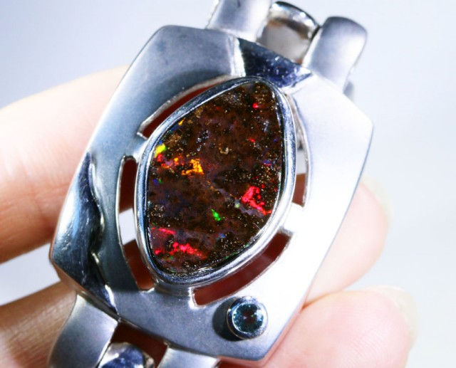RED AND GREEN ROLLING FIRE BOULDER OPAL BRACELET BU1618