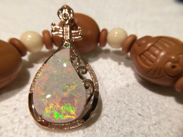 18K Rose Gold White opal pendant
