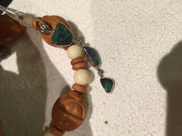 18K White Gold black opal ring/pendant/bracelets/necklace.