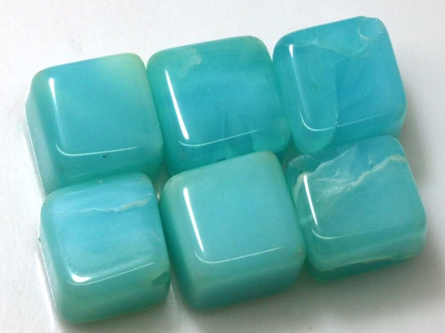 60.15 CTS PERUVIAN BLUE OPAL BEADS DRILLED PARCEL (6PCS)  LO-3762