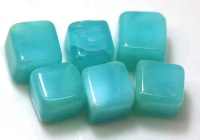 61.80 CTS PERUVIAN BLUE OPAL BEADS DRILLED PARCEL (6PCS)  LO-3767