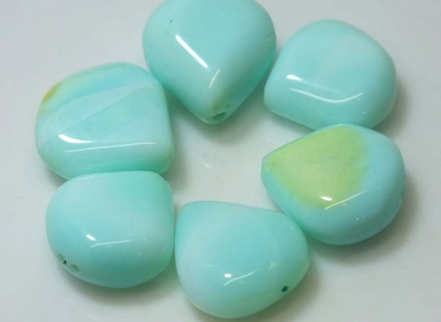 46.35 CTS PERUVIAN BLUE OPAL BEADS DRILLED PARCEL (6PCS)  LO-3795