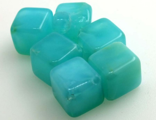 58.80 CTS PERUVIAN BLUE OPAL BEADS DRILLED PARCEL (6PCS)  LO-3812
