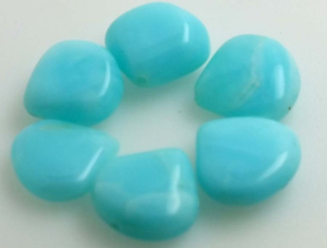 31.80 CTS PERUVIAN BLUE OPAL BEADS DRILLED PARCEL (6PCS)  LO-3822
