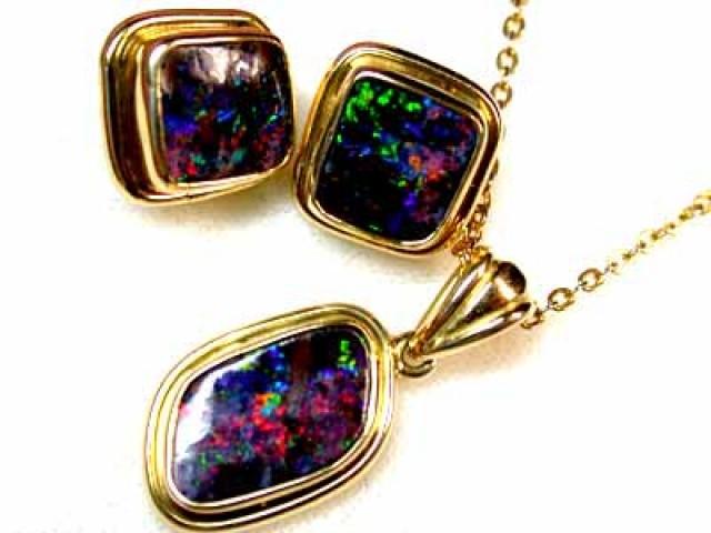 3 piece gem boulder pendant n earring sco54